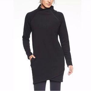 Athleta Cozy Karma Asym Sweatshirt Dress M Black